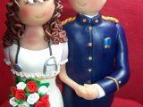 Figura Novios Tarta Bodas militar y enfermera 6444